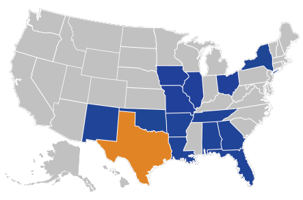 United States Map - Litigated Cases